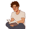 gansey sits cross legged in his pyjamas, reading a book