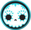 A blue and white clip art of a sugar skull in a circle