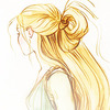 concept art of Rapunzel from the Disney movie Tangled: a girl seen from profile with long blond hair and a green dress