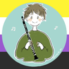 picture of a person holding a clarinet, with nonbinary flag background