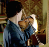 Sherlock (BBC) composing sad music on his violin