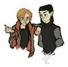 jim & spock as teens, jim is flipping off the viewer