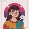 a girl with shoulder length brown hair and bangs. she has round glasses over brown eyes. she's wearing a three toned block sweater. the background is the bi pride flag with white hearts.