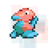 A pixel drawing of Porygon, a pokémon, which looks like a low-poly 3D representation of a bird.