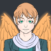 Drawing of an androgynous angel with short, tousled strawberry blond hair and wings to match. They're dressed in close-fitting layers in various shades of teal, and have a silvery scarf draped around their neck.