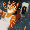 fursona and glados w confetti in lesbian flag colors