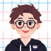 caloub's profile pic made on picrew representing a person with short brown hair wearing glasses