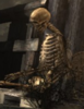 [A skeleton sits in contemplation]
