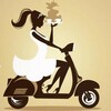 Silhouette of a woman with a tray of steaming coffees, wearing a summery dress and riding a moped with sunglasses perched atop her head and her hair in a breezy ponytail. Definitely not me but I wish it were!
