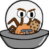 A spider in a flying saucer-style spaceship, holding a cookie.