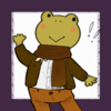 a cartoon frog wearing brown slacks, a brown jacket and scarf, and a white button up. the frog is smiling and waving.