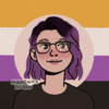 a picrew of a white person with glasses and a phone, looking to the side