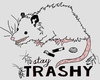 Picture of an opossum with trash strewn around saying: Stay Trashy