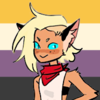 double trouble from she-ra with the nonbinary flag in the background