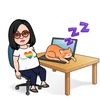 Bitmoji of a woman wearing a white t-shirt with an LGBTQ+ rainbow heart sits at a desk with a ginger cat on her laptop