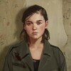 Icon ID: Early concept art of Ellie from The Last of Us Part 2. She faces forward with a neutral expression, standing in front of yellow peeling wallpaper. Her collarbone-length hair is down and tucked behind her ears
