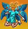 Image of a seraph in front of a orange/yellow gradient. Their head is flaming, with one big red eye on their face, and similar eyes covering their arms and legs, which are bent. They're wearing teal shorts and shirt, and have six blue wings spread