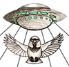 A flying saucer abducting a sparrow