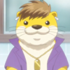 Karurusu, a yellow otter, with a ridiculous tuft of brown hair, an open purple shirt, a gold necklace, and one earring. he looks like an anime hoodlum.