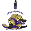 "Three platypii in a puppy pile under a microphone hanging from the ceiling with the text ""Auralphonic"" inbetween"