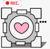 A companion cube in a video camera viewfinder