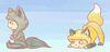 bee4u's icon: by mrsgaarayaoilover95 Derek as gray chibi wolf and Stiles as golden chibi Fox