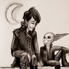 A black and white watercolour of Sasha and Grizzop from RQG. Sasha is a white woman with dark hair, wearing a studded jacket and boots. Grizzop is a grey goblin sitting with one foot up. Their hands touch between them and they smile at each other