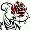 red rose with black thorns along stem, stylized