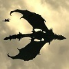 Dragon in flight (Alduin from Skyrim).