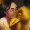 snow white and a golden raven