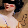 A cropped picture of the muse Calliope, a black bar covering her eyes, a blush drawn onto her cheek, and a dick doodled on the wall behind her.