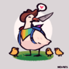 A white duck wearing a cowboy hat, a rainbow colored bandana and a backpack, with a knife in its beak. The duck is happy with a speech balloon of a heart at the upper right of their head. There are three yellow ducklings around the white duck.