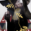 A beautiful painting of a boy in a very big hat