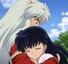 Inuyasha and Kagome hug at the end of TFA ep 26
