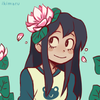 Tsuyu from BNHA smiling. She has a lotus flower in her hair and is wearing a white shirt with dark green sleeves. There is a small frog decal on the front