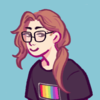 A flat-colour sketch of a smiling girl with long brown hair in a ponytail and glasses against a light blue background. Her black shirt has a rainbow flag on it.