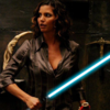 Cordelia Chase wielding a lightsaber