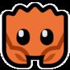 Ferris, an orange crab and the Rust mascot, in Mutant Standard emoji style