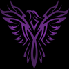 Purple phoenix, wings spread, on a blue black background