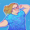 art of a fem white guy with long dark blond hair posing magical anime girl style. he's wearing a sparkly blue shirt