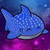 A cartoon whale shark swims through a galaxy