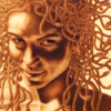 by jillicons, a sepia-toned medusa smirks