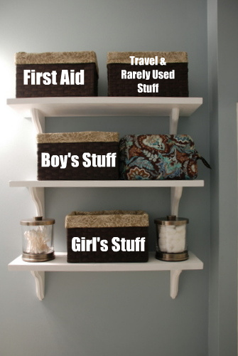 bathroom open shelving storage