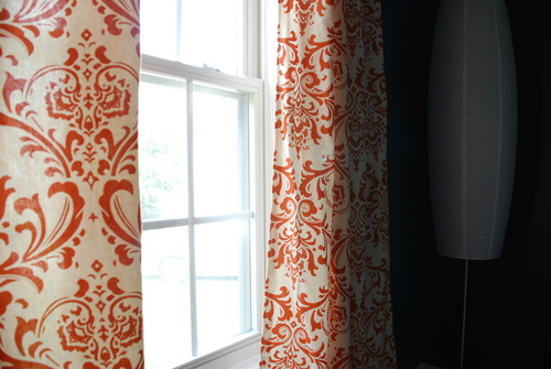 orange damask curtains