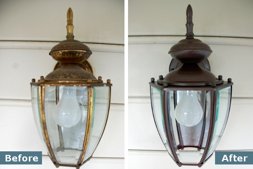 How To Spray Paint A Light Fixture Krylon Rust Protector Hammered Brown