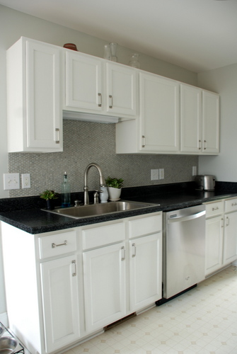 Lively green door we installed our penny tile backsplash - Penny tile backsplash images ...