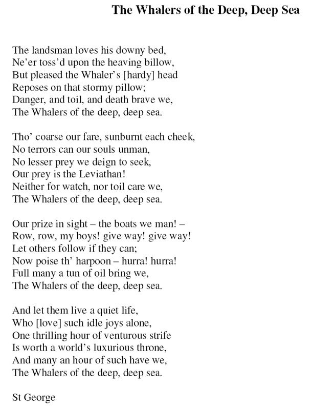The whalers of the deep deep sea - lyrics of the song by Mrs St ...