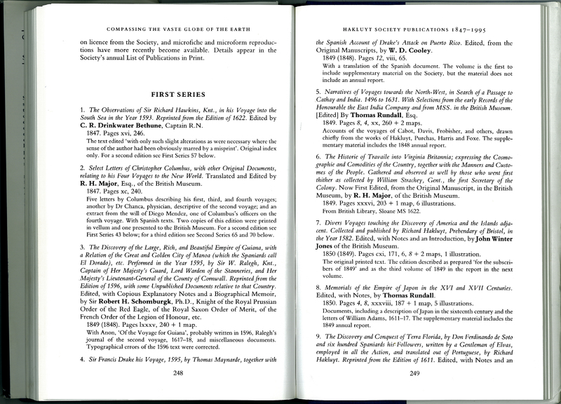 Compassing the Vaste Globe of the Earth: Studies in the History of the Hakluyt Society 1846-1996: with a Complete List of the Society's Publications