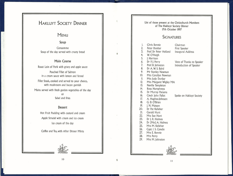 The Hakluyt Society Society Dinner, The Canterbury Club, Christchurch, 17 October 1997