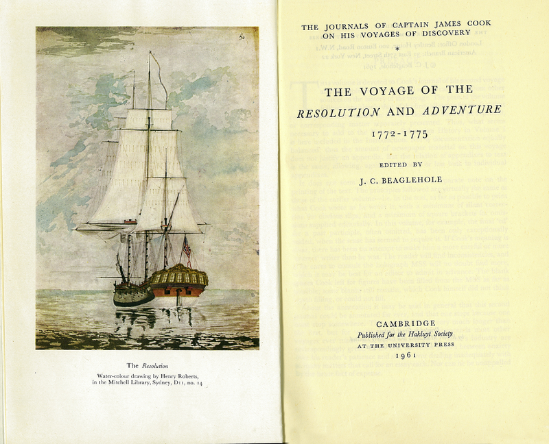 The Journals of Captain James Cook on his Voyages of Discovery. The Voyage of the Resolution and Adventure, 1772-1775